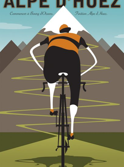 Alpe d'Huez | Iconic Cycling Art Print image on watercolor paper print.