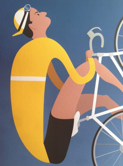 Ventoux | Iconic Cycling Art Print detail photo on Watercolor paper.