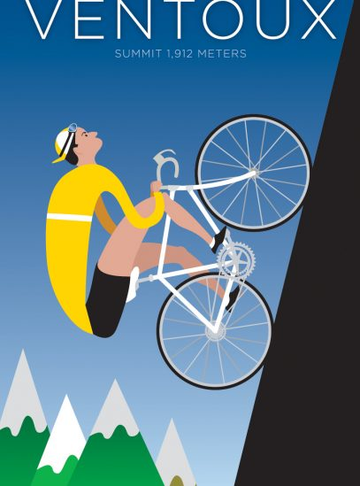 Ventoux | Iconic Cycling Art Print on Watercolor paper.