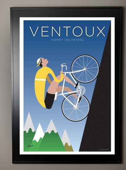 Ventoux | Iconic Cycling Art Print in a black frame.