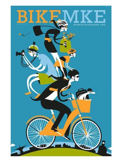 Bike Milwaukee Cycling Art Print | Valenti