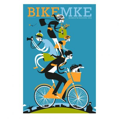 Bike Milwaukee Cycling Art Print   Valenti