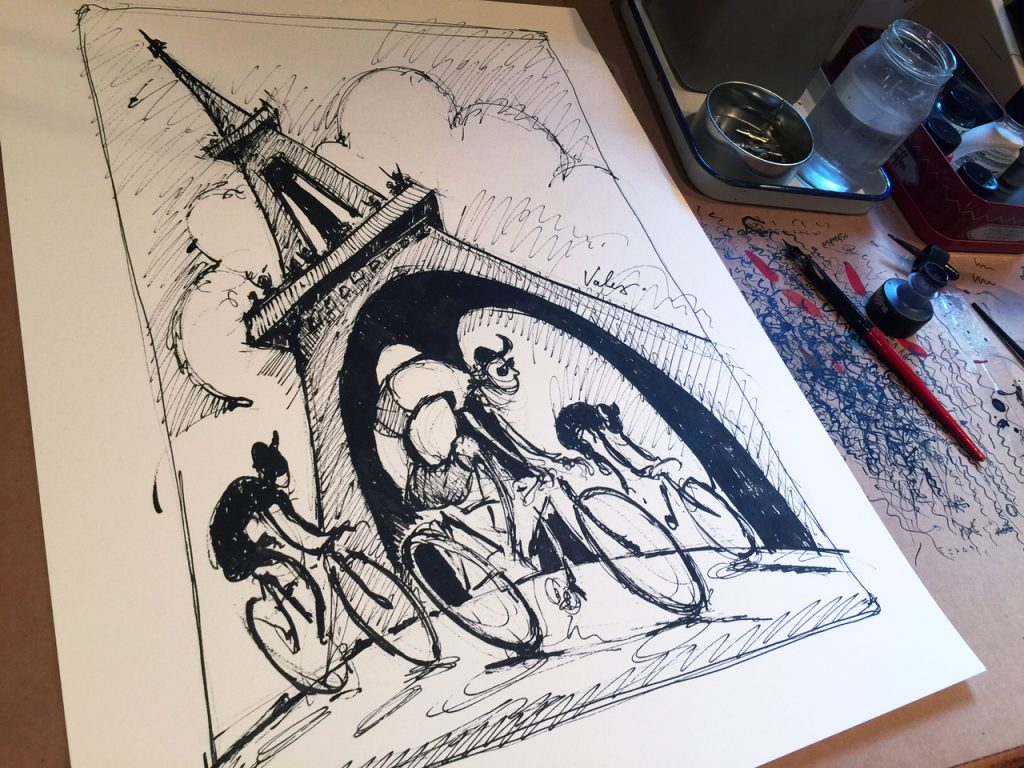 TdF Eiffel Tower Original drawing