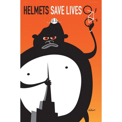 Helmets Save Lives | Cycling Art Poster