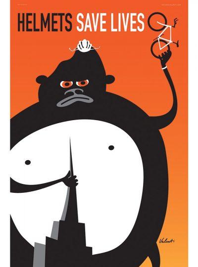 Helmets Save Lives Cycling Art Print | Valenti