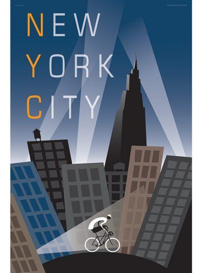 NYC Cycling Art Print | Michael Valenti