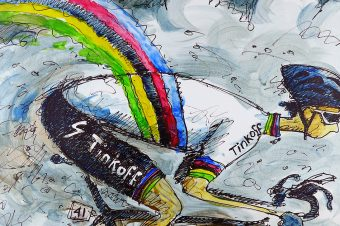 Peter Sagan. Rainbow in the Rain.