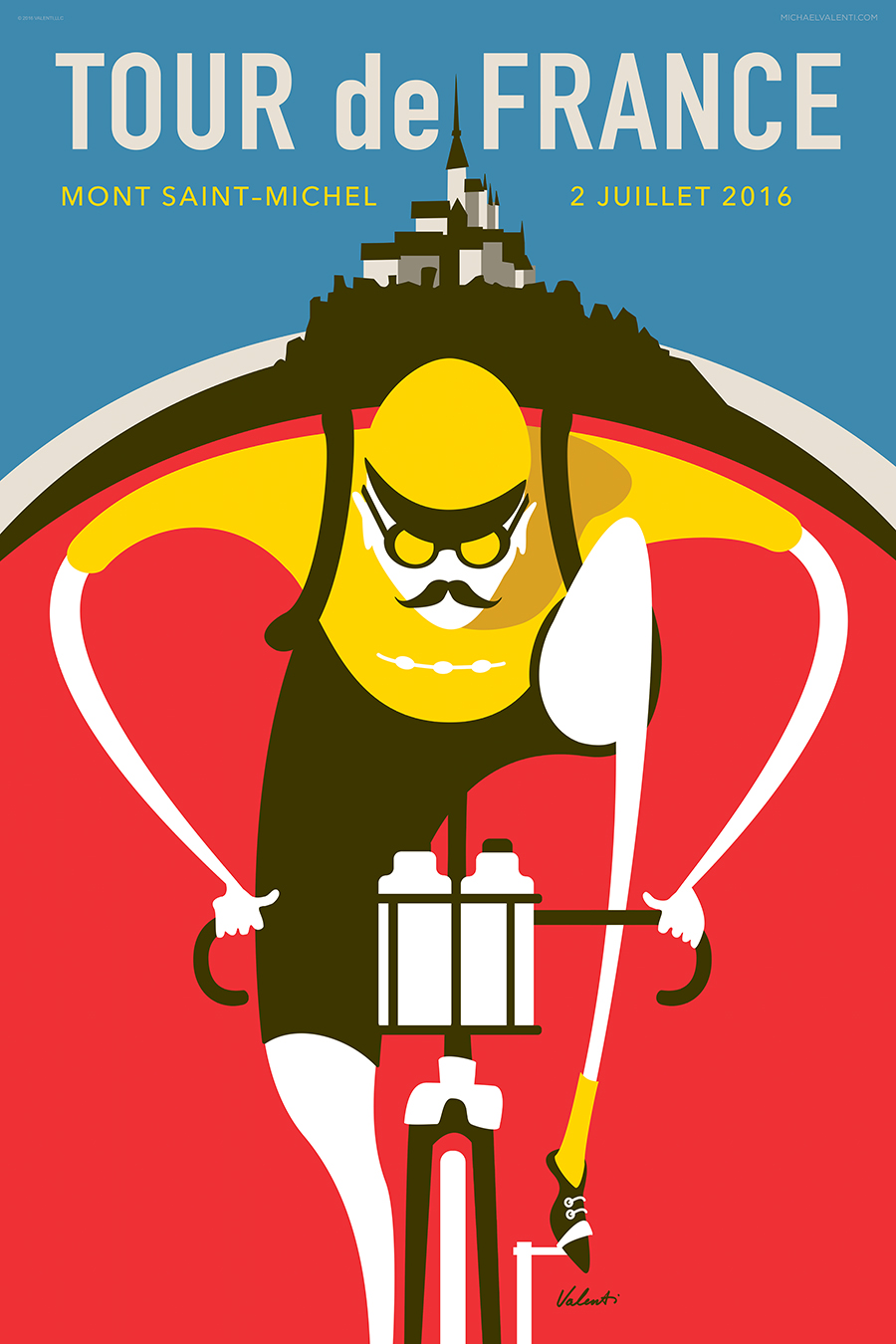 Tour de France Saint Michel Cycling Art Print | Michael Valenti