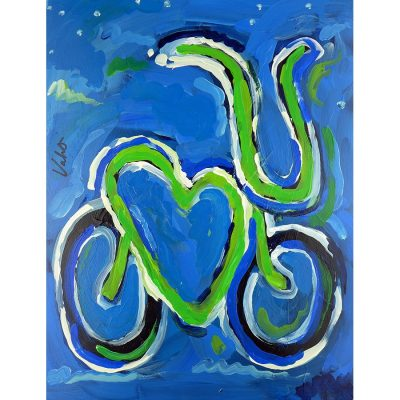 Blue Night Love Bike | Original Cycling Art