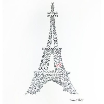 Heart Bikes Eiffel | Original Cycling Art