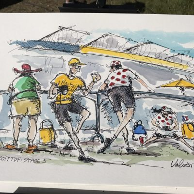 TdF Original Cycling Art | Stage 5 Waiting