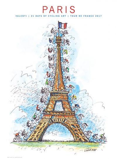 TdF Paris Cycling Art Print | Valenti