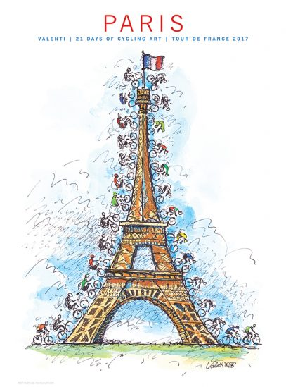 TdF Paris Cycling Art Print   Valenti