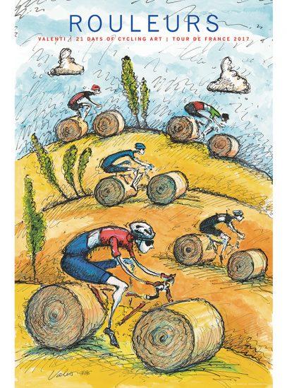 TDF Rouleurs Cycling Art Print | Valenti
