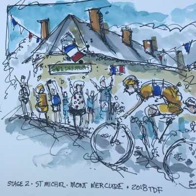 TdF Stage 2 | Original Cycling Art | Peloton in St Michel