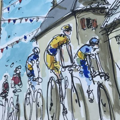 TdF Stage 2 | Original Cycling Art | Leaving St Michel