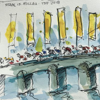 TdF Stage 15 | Original Cycling Art | Millau Bridge