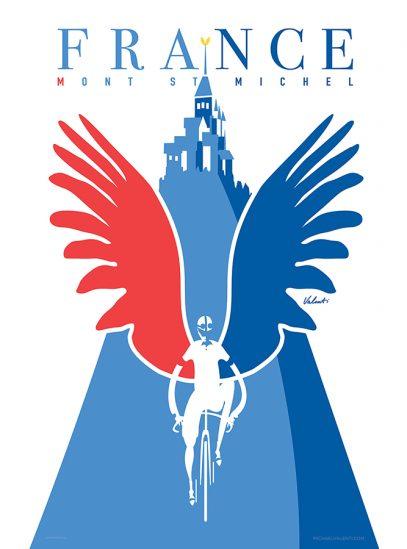 Mont Saint Michel   Cycling Art Print   Valenti
