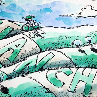 Bianchi Hills | Original Cycling Art