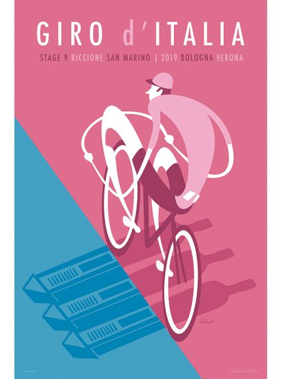 Giro 2019 Stage 9   Cycling Art Print   Valenti