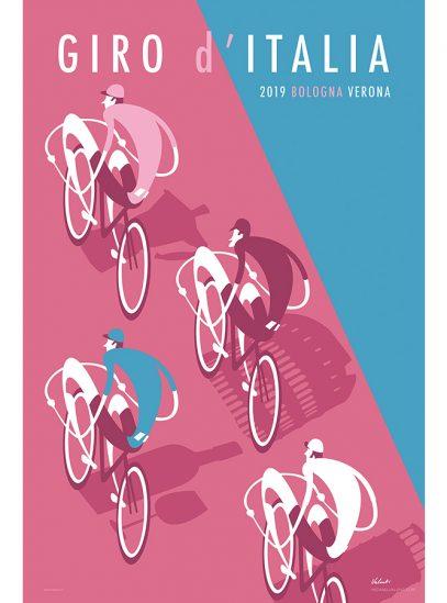 Giro 2019 Cycling Art Print   Michael Valenti