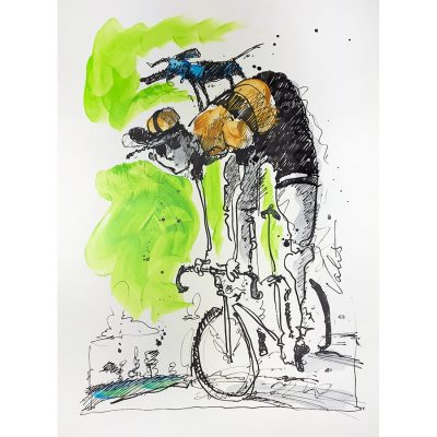 Riding with Dog | Original Cycling Art