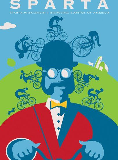 Sparta Ben Cycling Art Print