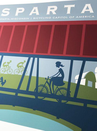 Sparta Bridge Cycling Art Print detail.