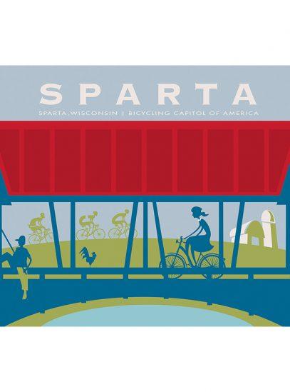 Sparta Bridge Cycling Art Print | Michael Valenti