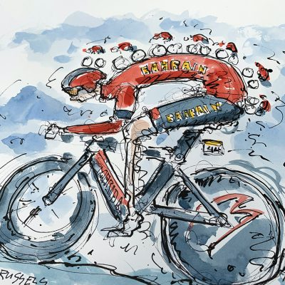 TdF Stage 2 | Original Cycling Art | Bahrain TTT