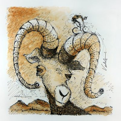 Big Handlebar Goat | Original Cycling Art