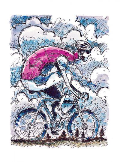 Rain Day Ride | Valenti Cycling Art Print
