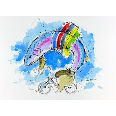 Rainbow Jersey Trout Cycling | Original Cycling Art