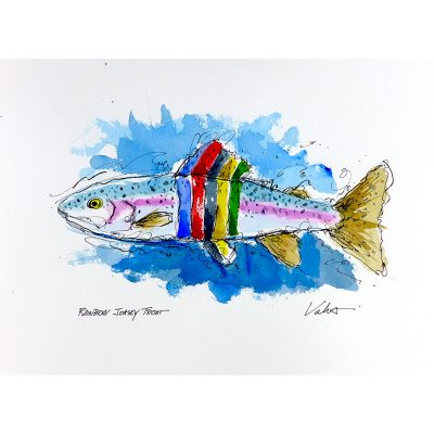 Rainbow Jersey Trout | Original Ink Cycling Art
