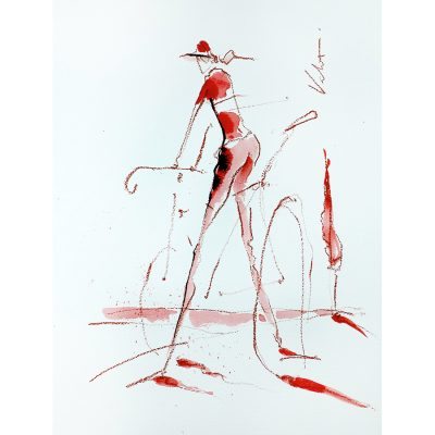 Red Rider | Original Ink Cycling Art
