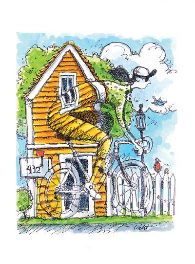 Town Ride Cycling Art Print | Valenti