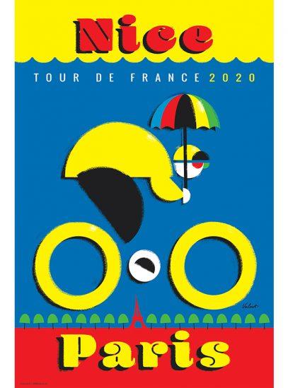 TDF 2020 Nice   Cycling Art Print   Michael Valenti