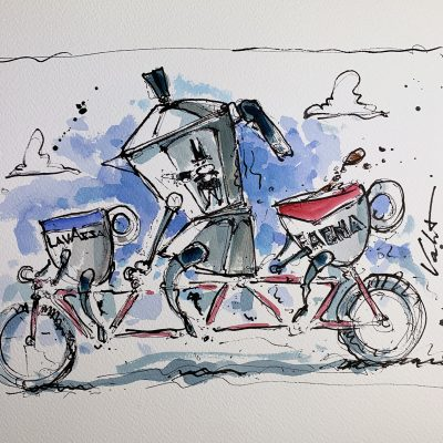 Coffee Cups Cycling | Original Cycling Art