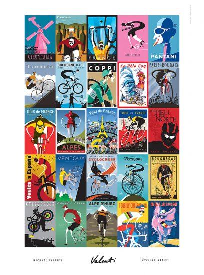 Valenti Races Places Faces   Cycling Art Print   Michael Valenti