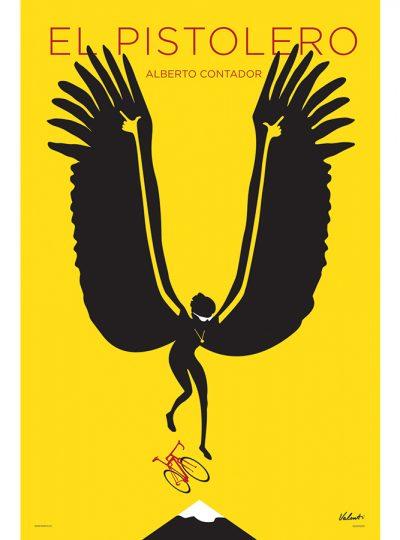 Alverto Contador | Cycling Art Print | Valenti