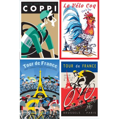 Set of Four | 12×18 Cycling Art Prints