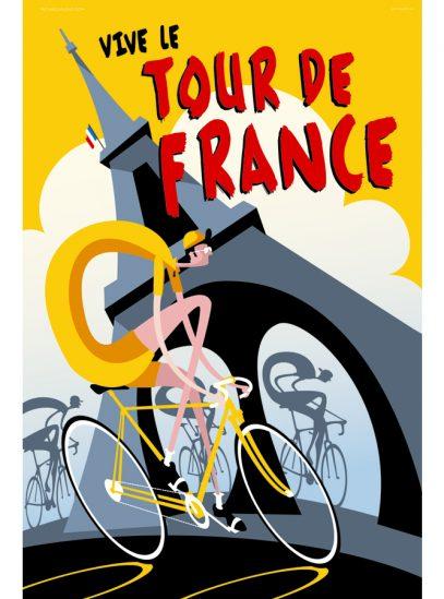 Vive le Tour Cycling Art Print   Michael Valenti