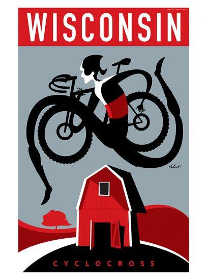 Wisconsin CX Cycling Art Print | Michael Valenti