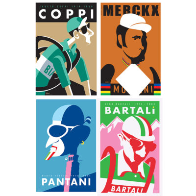 Four Legends   Cycling Art Print Set