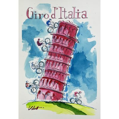 Pink Pisa | Original Cycling Art