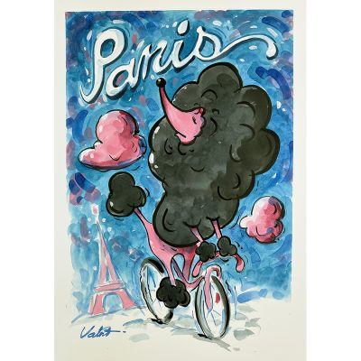 Paris Poodle | Original Cycling Art