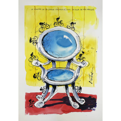 Fancy Blue Chair | Original Cycling Art