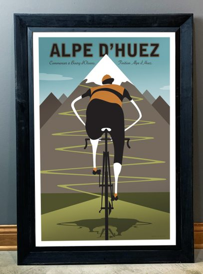 Alep d'Huez | Iconic Cycling Art Print in a black frame.