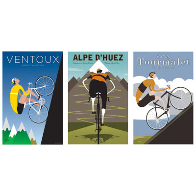Three Iconic Climbs | Cycling Art Print Set
