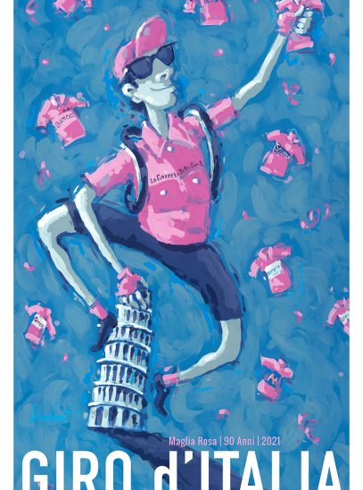 Valenti Cycling Art Giro 2021 Maglia Rosa Cycling Art Print
